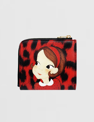 Slim Zipper Half-wallet Leopard Red Ria