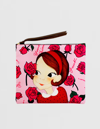 rose flat pouch (M) pink ria