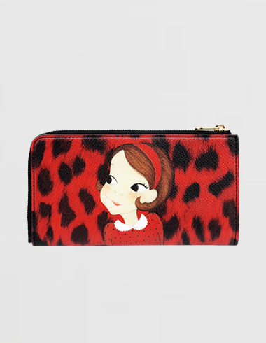 Slim Zipper wallet. L Leopard Red Ria