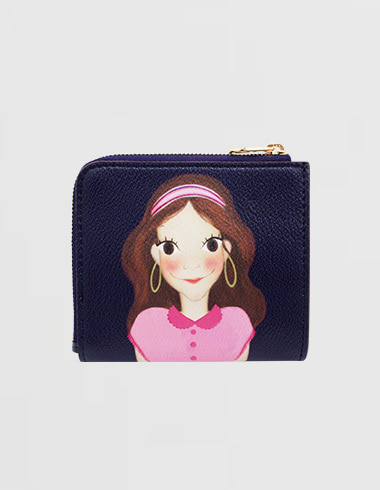 Slim Zipper Half-wallet Navy Luna