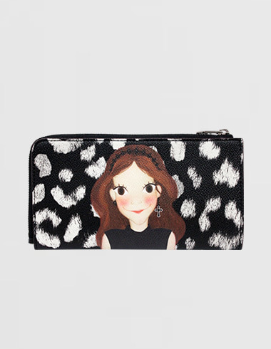 Slim Zipper wallet. L Leopard Black Luna