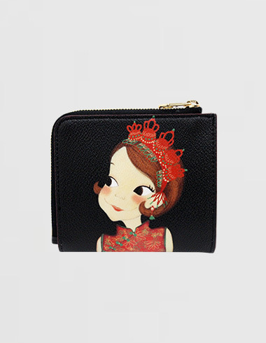 Slim Zipper Half-wallet Sanghai Ria