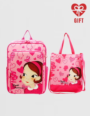Kids Heart school bag + second bag SET pink ria