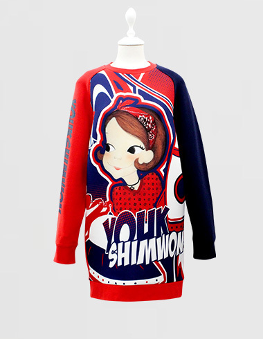 Neo lettering long sweat-shirts Chicria