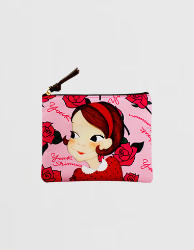rose flat pouch (S) pink ria